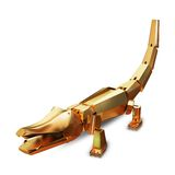 Illustration of a Gold toy crocodile. High resolution 3d Stock Photo