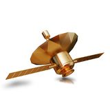 Illustration of a Gold toy Spacecraft Orbiting. High resolution 3d Stock Photography