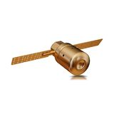 Illustration of a Gold toy Spacecraft Orbiting. High resolution 3d Royalty Free Stock Image