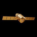 Illustration of a Gold toy Spacecraft Orbiting. High resolution 3d Stock Photos