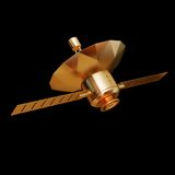 Illustration of a Gold toy Spacecraft Orbiting. High resolution 3d Royalty Free Stock Photos