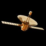 Illustration of a Gold toy Spacecraft Orbiting. High resolution 3d Royalty Free Stock Photography