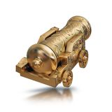 Illustration gold vintage cannon. High resolution 3d Stock Photo