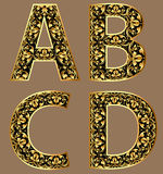 Illustration gold vintage decorative font characters Stock Image