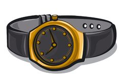 Gold wrist watches. Illustration of gold wrist watches with black bracelet Royalty Free Stock Photo