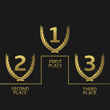 Illustration of Golden awards. First, second and third place icons. Golden award symbol set Stock Photos
