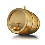Illustration golden barrel isolated. High resolution 3d Stock Photography