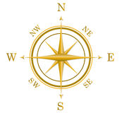 Compass. An illustration of Golden compass with north south east west Stock Image