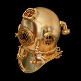 Illustration of a golden diving helmet. High resolution 3d Royalty Free Stock Images