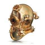 Illustration of a golden diving helmet. High resolution 3d Royalty Free Stock Photo