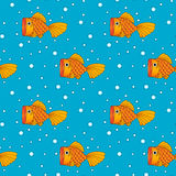 Illustration of golden fish, seamless background, pattern stock photo