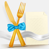 Illustration of golden fork and knife with blue bow and menu blank Royalty Free Stock Photo