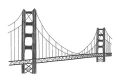 Illustration of Golden Gate bridge, San Francisco Stock Images