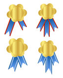 Gold medal. An illustration of golden medal designs with blue ribbons Royalty Free Stock Image