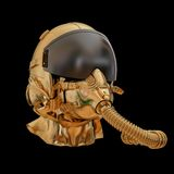 Illustration of a golden protective helmet of the pilot against the plane with an oxygen mask. High resolution 3d Stock Photography
