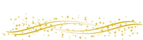 Golden stars on curved golden ribbons. Illustration of golden stars on curved golden ribbons for birthday cards and other anniversaries Stock Illustration