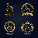 Golden swans icon set collection. Illustration of Golden swans icon set collection Stock Photos