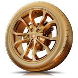 Illustration of a golden tire. High resolution 3d Royalty Free Stock Photo