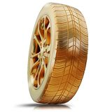 Illustration of a golden tire. High resolution 3d Royalty Free Stock Images