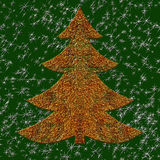 Illustration of golden wired Christmas tree Stock Images