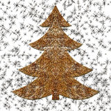 Illustration of golden wired Christmas tree Stock Image