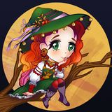 Illustration of a good witch sitting on a tree branch stock illustration