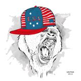 Illustration of gorilla in the glasses, headphones and in hip-hop hat with print of USA. Vector illustration. Royalty Free Stock Photo