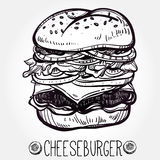 Illustration of gourmet Cheeseburger or Hamburger. Royalty Free Stock Photo