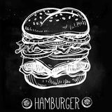 Illustration of gourmet Cheeseburger or Hamburger. Stock Image