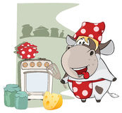 Illustration of Gourmet Chef Cow. Cartoon Character Stock Image
