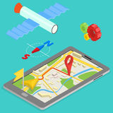 Illustration of GPS in mobile phone showing route Royalty Free Stock Images