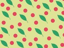 Illustration, gröna sidor och röda cirklar på gul bakgrund, tryck royaltyfri fotografi