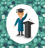 Illustration of graduate with background of education icons. Illustration with student in graduation gown and mortarboard near tribune in background of education Stock Images
