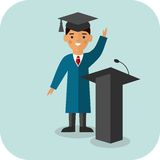 Illustration of graduate near tribune Stock Photography