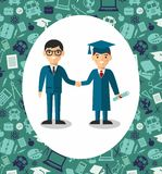 Illustration of graduate and teacher with background of education icons. Students in graduation gown and mortarboard with teacher in background of education Stock Photos