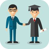 Illustration of graduate and teacher. Students in graduation gown and mortarboard with teacher Royalty Free Stock Images