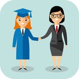 Illustration of graduate and teacher. Students in graduation gown and mortarboard with teacher Royalty Free Stock Photo