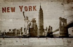 Illustration of a graffiti on a concrete wall of the city of New york
