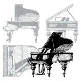 Illustration of Grand Piano. Vector hand drawn illustration of Grand Piano. Orthographic projection on the background. Top, front, right side views Royalty Free Stock Photo