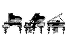 Illustration of Grand Piano. Vector hand drawn illustration of Grand Piano in orthographic projections. front, right side and ¾ views Stock Photo