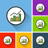 Graph icons with long shadow. Illustration of graph icons with long shadow Stock Images