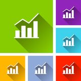 Graph icons with long shadow. Illustration of graph icons with long shadow Stock Photography