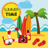 Illustration Graphic Vector Summer, Travel, Holiday Stock Photography