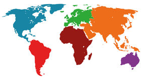 Illustration Graphic Vector World Map colored Royalty Free Stock Photo