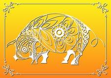 Illustration graphique avec le porc décoratif 10_2 illustration stock