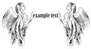 illustration graphique d'une femme avec des ailes encadrant le texte Photographie stock