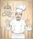Illustration graphique de cuisinier de chef montrant correct Photo stock