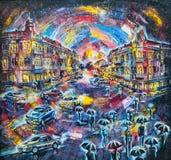 Illustration graphique de la ville de pétrole de la nuit Photos libres de droits