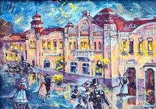 Illustration graphique de la ville de pétrole de la nuit Photographie stock libre de droits