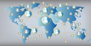 Illustration graphique de media social - carte du monde Photographie stock